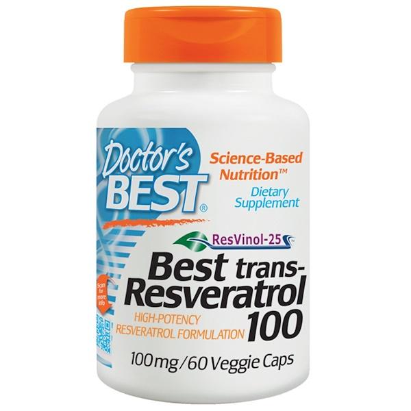 Doctor's Best, ベストトラム - レスベラトロール100、100mg、60ベジキャップ