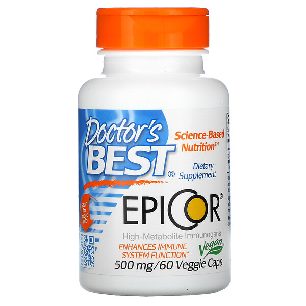 Doctor's Best, EpiCor, 500 mg, 60 cápsulas vegetales