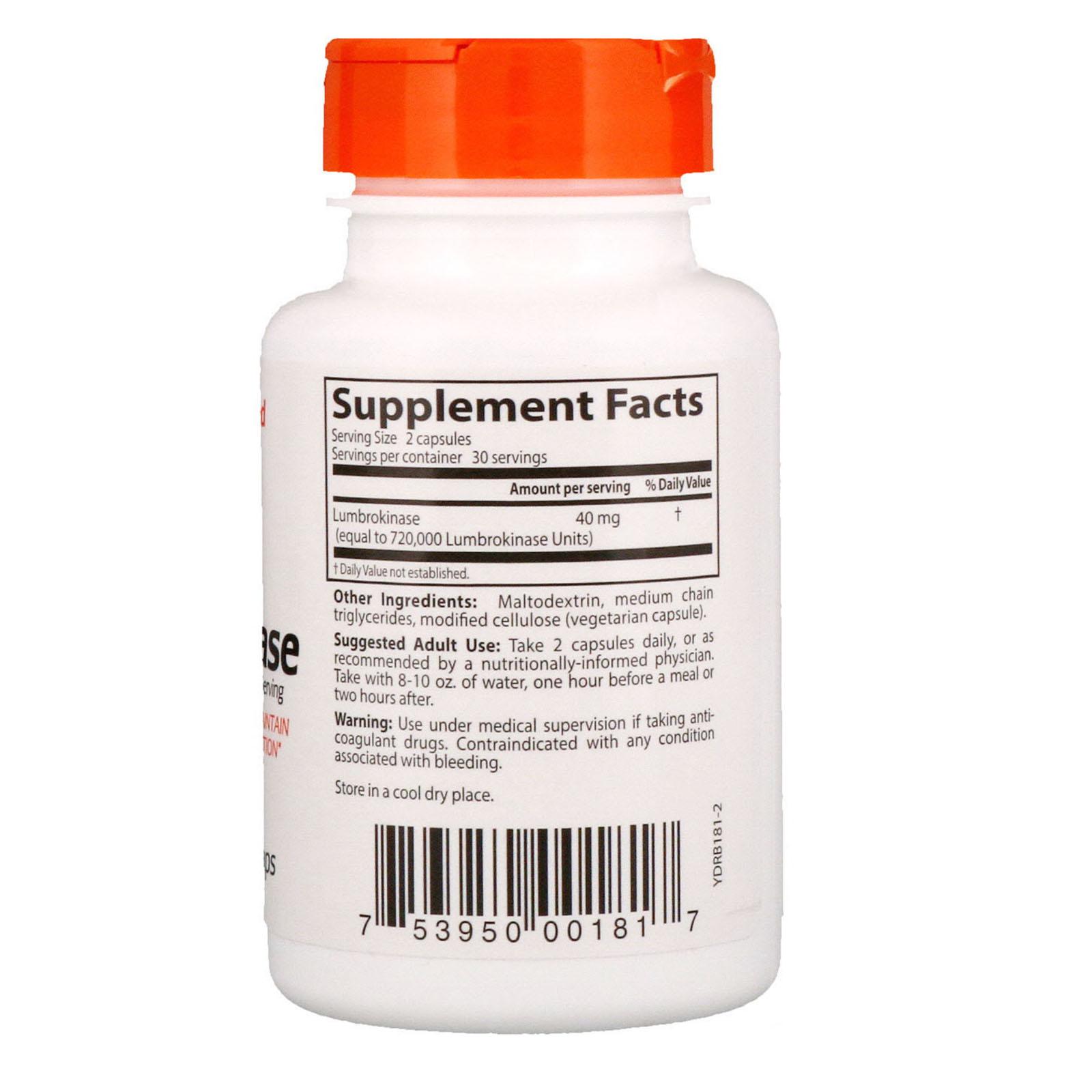 Doctor's Best, Lumbrokinase, 20 mg, 60 Veggie Caps - iHerb com