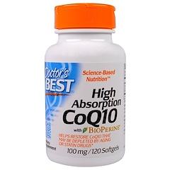 Doctor's Best, CoQ10 de alta absorción, con BioPerine, 100 mg, 120 cápsulas blandas