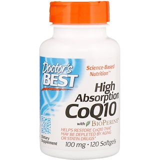 Doctor's Best, High Absorption CoQ10 with BioPerine, 100 mg, 120 Softgels