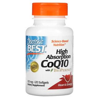 Doctor's Best, коэнзимQ10 с высокой степенью всасывания с BioPerine, 100мг, 120капсул