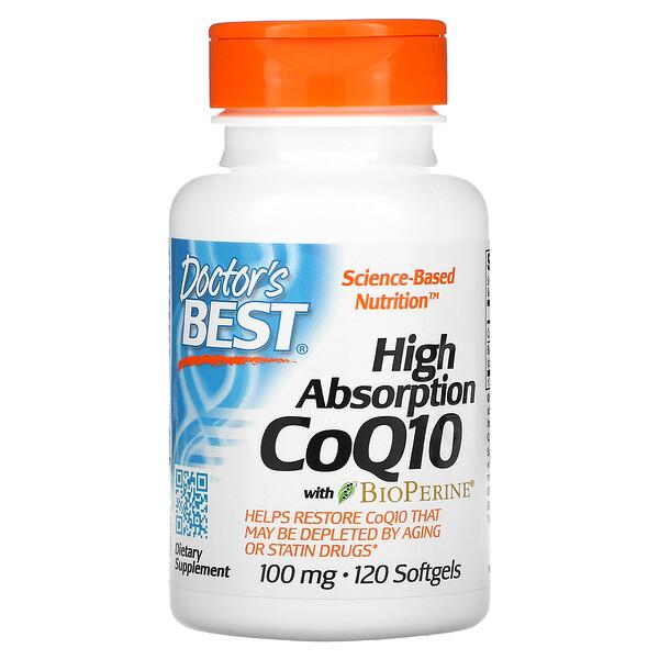 CoQ10 de alta absorción con BioPerine, 100mg, 120cápsulas blandas