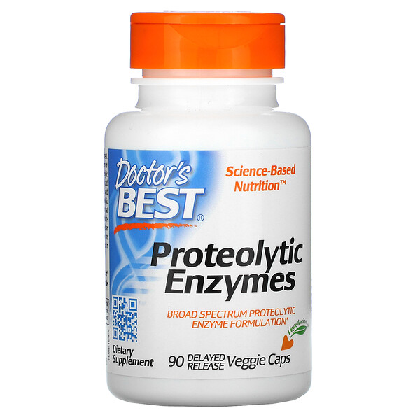 Doctor's Best, Proteolytic Enzymes, 90 Delayed Release Veggie Caps