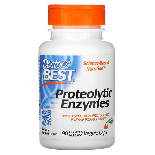 Doctor's Best, タンパク質分解酵素、遅延放出型ベジカプセル90粒