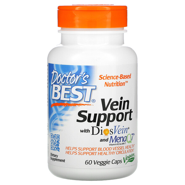 Doctor's Best, Vein Support with DiosVein and MenaQ7, 60 Veggie Caps