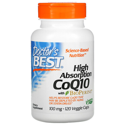 Doctors Best коэнзим Q10 с высокой степенью всасывания, с BioPerine, 100мг, 120вегетарианских капсул