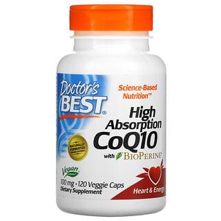 Doctor's Best, коэнзимQ10 с высокой степенью всасывания, с BioPerine, 100мг, 120вегетарианских капсул
