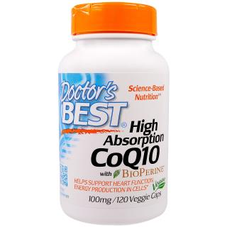Doctor's Best, High Absorption CoQ10 with BioPerine, 100 mg, 120 Veggie Caps