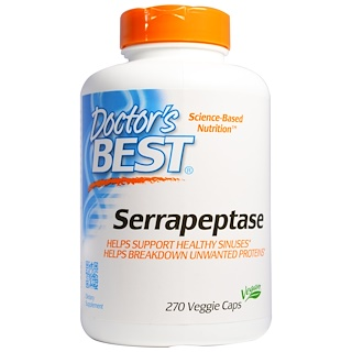Doctor's Best, Best Serrapeptase, 40,000 SPU, 270 Veggie Caps