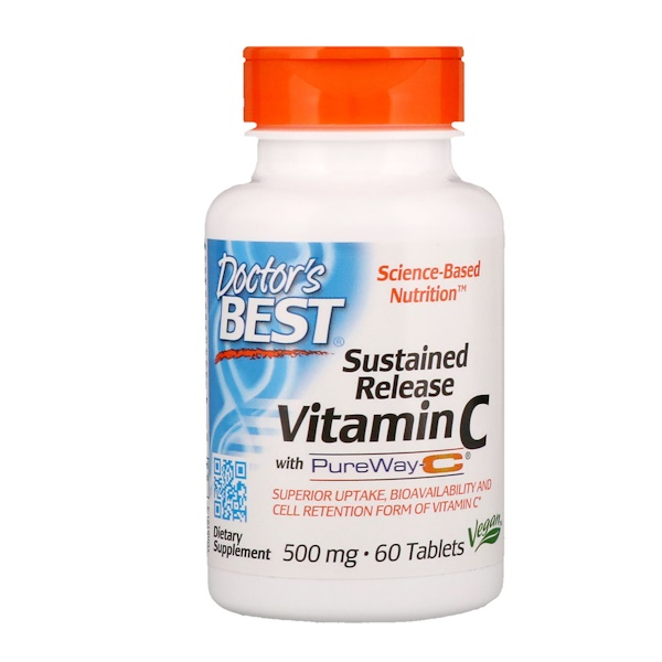 Sustained Release Vitamin C with PureWay-C, 500 mg, 60 Tablets
