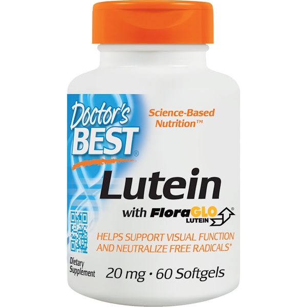 Doctor's Best, Lutein with FloraGlo Lutein, 20 mg, 60 Softgels