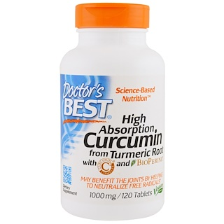 Doctor's Best, ベスト・クルクミン C3 コンプレックス、ビオペリン入り、1000 mg、 120錠