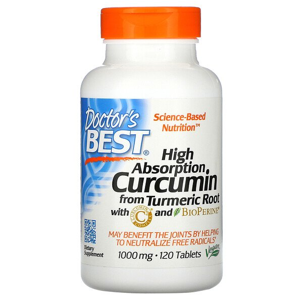 Doctor's Best, High Absorption Curcumin , 1,000 mg, 120 Tablets