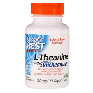 Doctor's Best, Suntheanine L-Theanine, 150 ملغ, 90 كبسولة نباتية