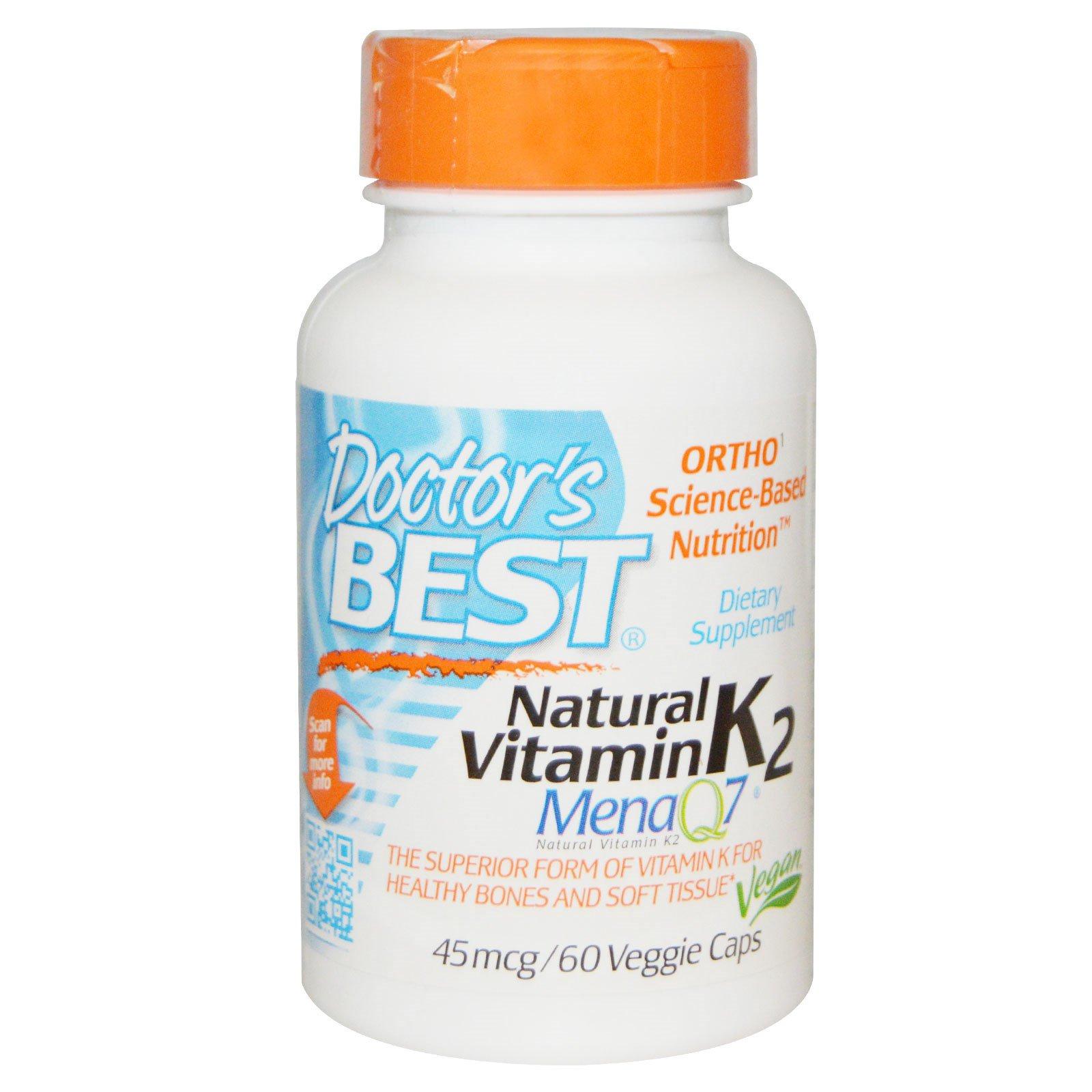 Doctor's Best, Натуральный витамин K2, Mena Q7, 45 мкг, 60 растительных капсул