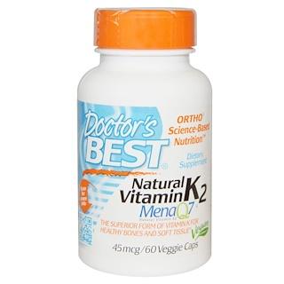 Doctor's Best, 天然ビタミンK2, Mena Q7, 45 mcg, 60粒(ベジタリアンカプセル)