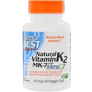 Doctor's Best, Natural Vitamin K2 with MenaQ7, 45 mcg, 60 Veggie Caps
