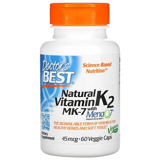 Doctor's Best, Natural Vitamin K2 MK-7 with MenaQ7, natürliches Vitamin K2 MK-7 mit MenaQ7, 45mcg, 60vegetarische Kapseln