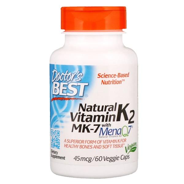 Doctor's Best, Натуральный витамин K2 сMenaQ7, 45 мкг, 60 вегетарианских капсул