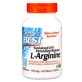 Doctor's Best, Sustained Plus Immediate Release L-Arginine, 500 mg, 120 Bilayer Tablets