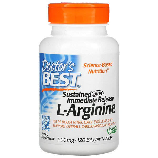 Doctor's Best, Sustained Plus Immediate Release L-Arginine, 500 mg, 120 Bilayer Tablets
