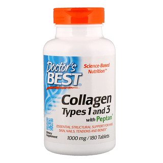 Doctor's Best, Collagen, Types 1 and 3 with Peptan, 1,000 mg, 180 Tablets