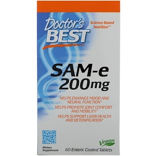 Doctor's Best, SAM-e、200 mg、60腸溶性コーティング錠