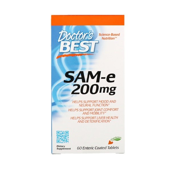 Doctor's Best, SAM-e, 200 mg, 60 tabletas revestidas entéricas