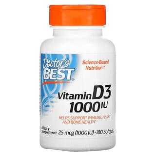 Doctor's Best, Vitamin D3, 25 mcg (1,000 IU), 180 Softgels