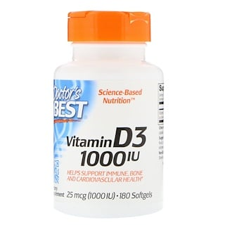 Doctor's Best, Vitamin D3, 25 mcg (1,000 IU), 180 Softgels