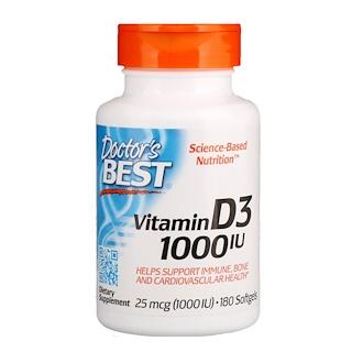Doctor's Best, ビタミンD3、25mcg(1000IU)、ソフトジェル180粒