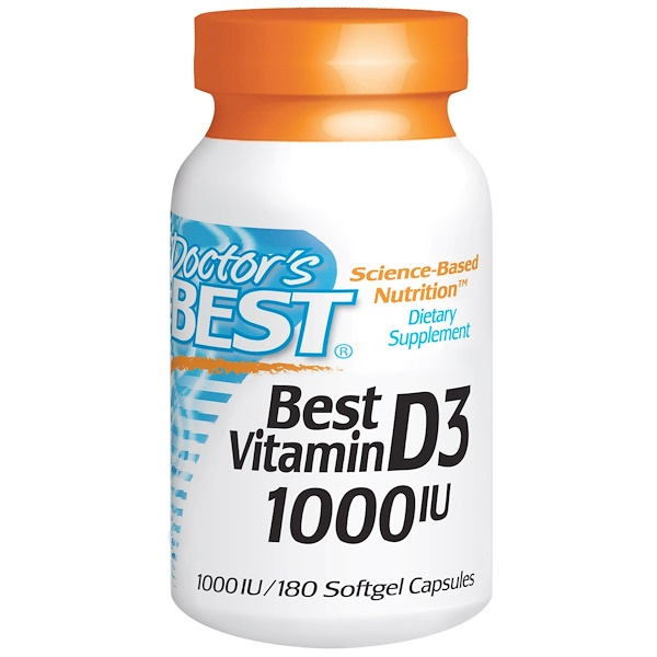 Doctor's Best, Best Vitamin D3, 1000 IU, 180 Softgels