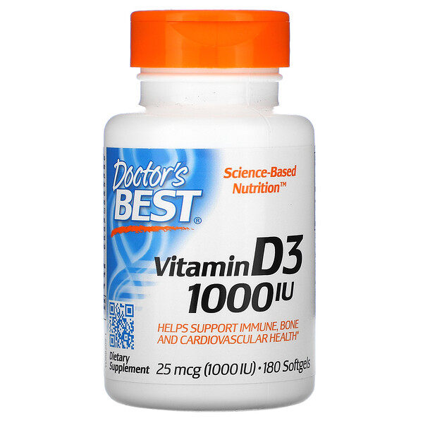 Vitamin D3, 25 mcg (1,000 IU), 180 Softgels
