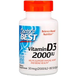Doctor's Best, Vitamin D3, 2,000 IU, 180 Softgels