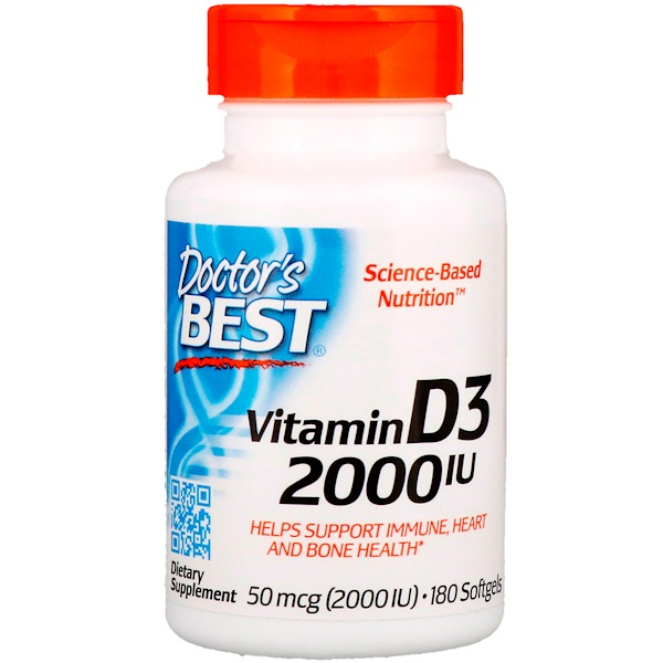 Doctor's Best, Vitamin D3, 50 mcg (2,000 IU), 180 Softgels