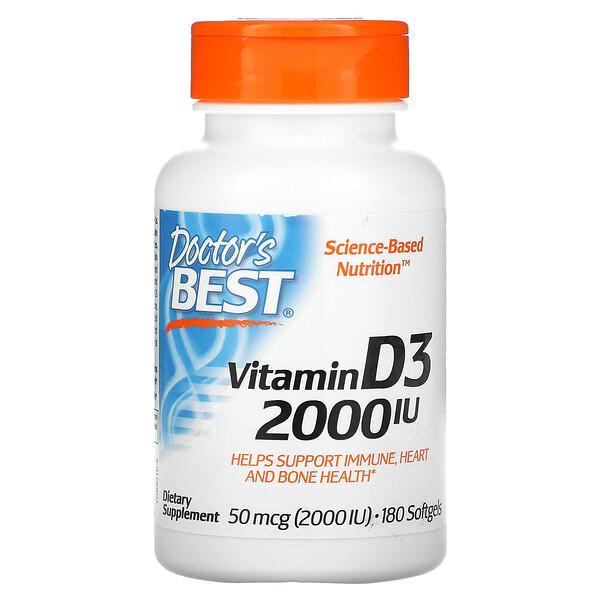 فيتامين د 3، 50 مكجم (2000 وحدة دولية)، 180 كبسولة هلامية