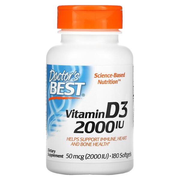 VitaminaD3, 50mcg (2000UI), 180cápsulas blandas