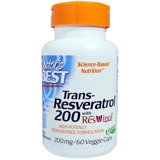 Doctor's Best, Trans-Resveratrol 200, 200 mg, 60 Veggie Caps