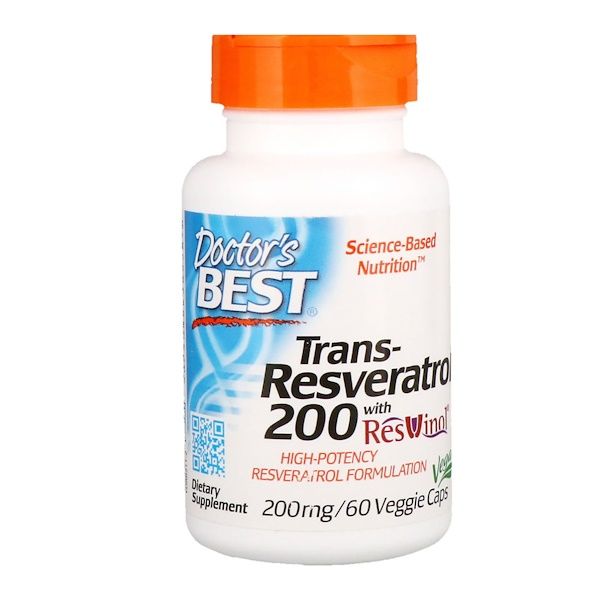 Doctor's Best, Trans-Resveratrol 200  with Resvinol, 200 mg, 60 Veggie Caps