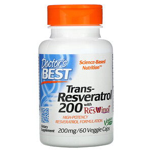 Докторс Бэст, Trans-Resveratrol 200  with Resvinol, 200 mg, 60 Veggie Caps отзывы покупателей