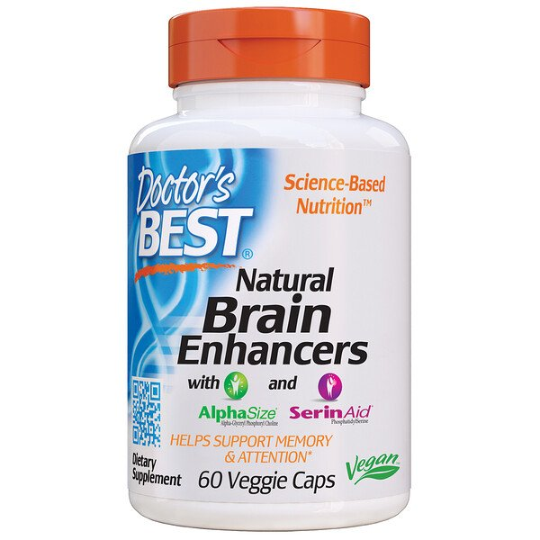 Natural Brain Enhancers wtih AlphaSize and SerinAid, 60 Veggie Caps