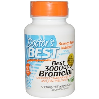 Doctor's Best, Best 3000 GDU Bromelain, 500 mg, 90 Veggie Caps