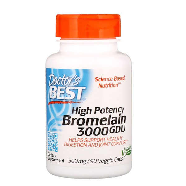 Bromelain 3000 GDU, High Potency, 500 mg, 90 Veggie Caps