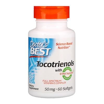 Купить Doctor's Best Токотриенолы с EVNol SupraBio, 50 мг, 60 мягких таблеток