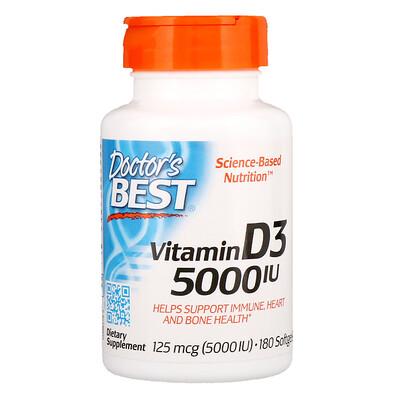 Купить Doctor's Best Витамин D3, 125мкг (5000МЕ), 180мягких желатиновых капсул