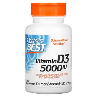 Doctor's Best, ビタミンD3、125mcg(5,000 IU)、ソフトジェル180粒