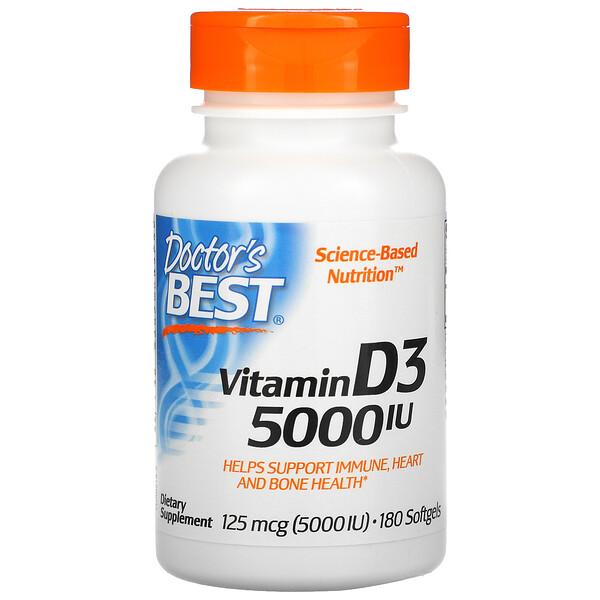 Doctor's Best, فيتامين D3، 125 ميكروجرام (5000 وحدة دولية)، 180 كبسولة مرنة