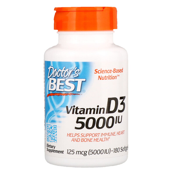 Doctor's Best, Vitamin D3, 125 mcg (5000 IU), 180 Softgels