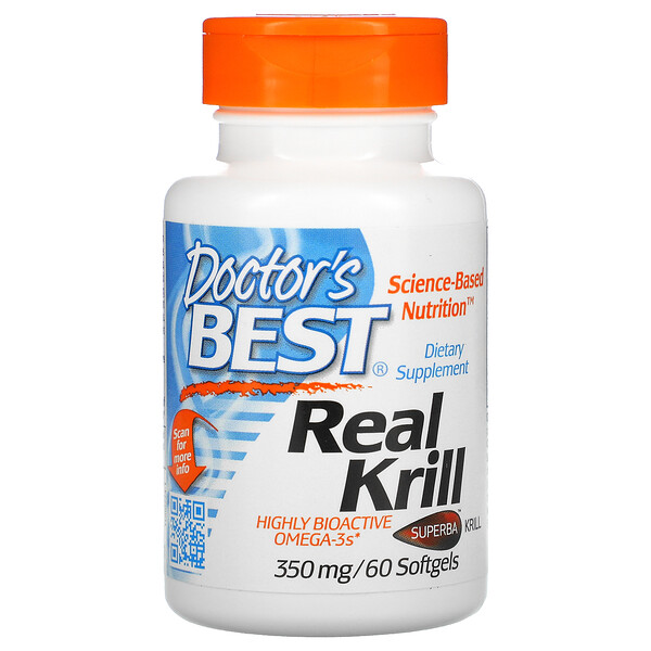 Doctor's Best, Real Krill, 350 mg, 60 Softgel